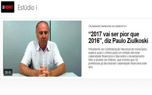 Ziulkoski apresenta levantamento de Municípios com decretos de calamidade financeira em entrevista à Globo News