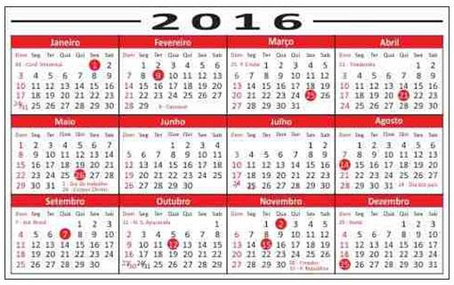 Calendario De 2018 E Seus Feriados