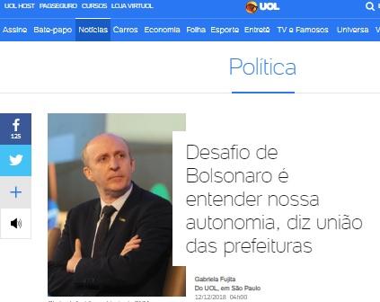 Portal UOL divulga entrevista de Aroldi sobre os desafios e a expectativa com o governo Bolsonaro