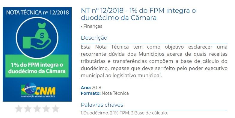 Nota técnica da CNM esclarece sobre a base de cálculo do duodécimo da Câmara de Vereadores